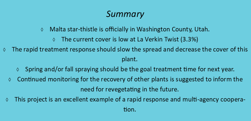 list of conclusions reached in Washington County thistle project